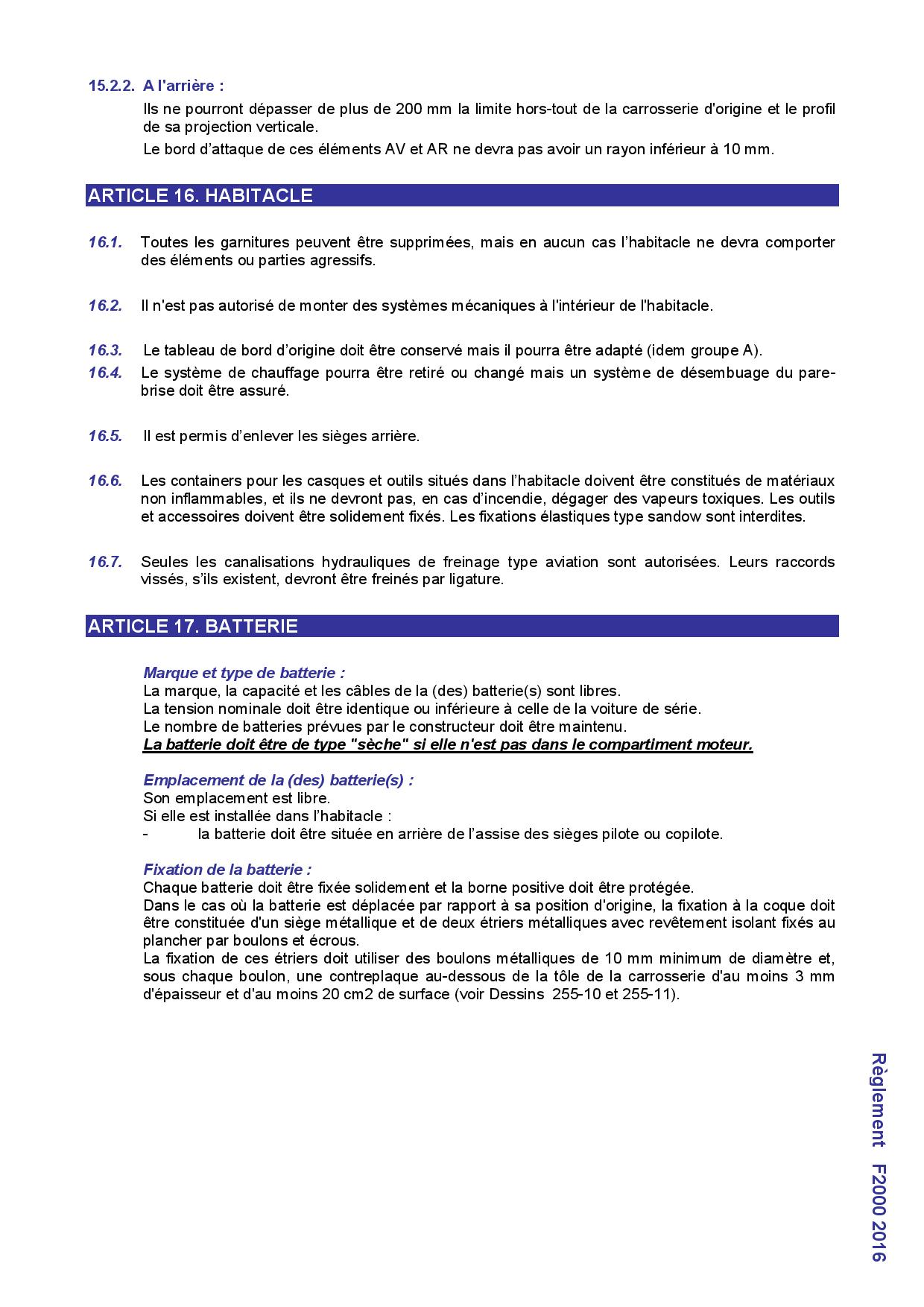 reglement f2000